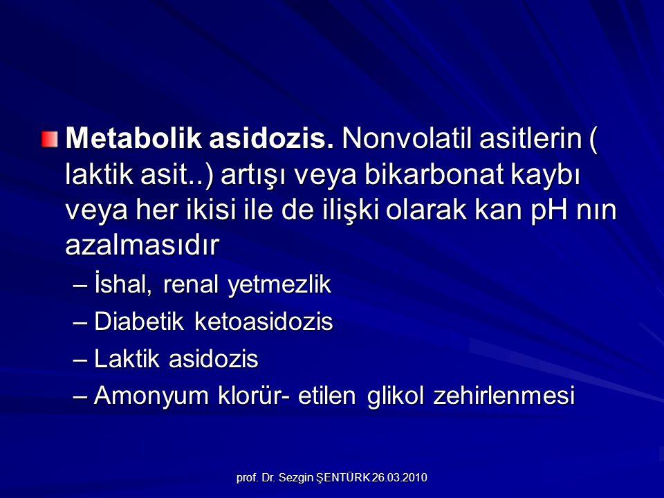 Metabolik asidozis. Nonvolatil asitlerin ( laktik asit