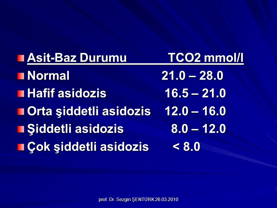 Asit-Baz Durumu TCO2 mmol/l Normal 21.0 – 28.0