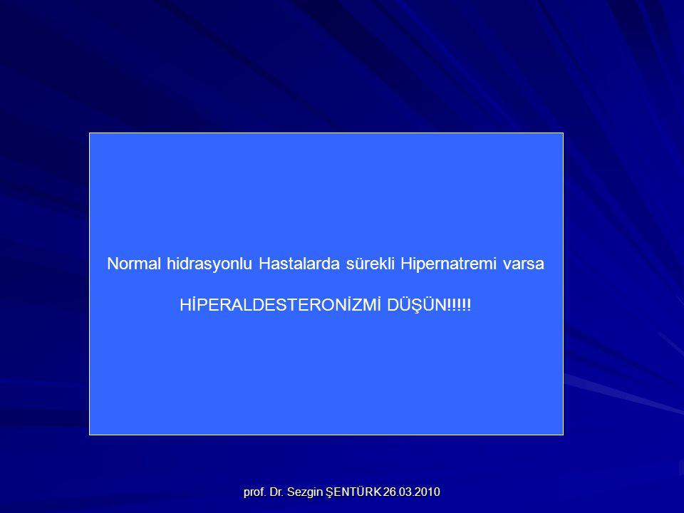 Normal hidrasyonlu Hastalarda sürekli Hipernatremi varsa