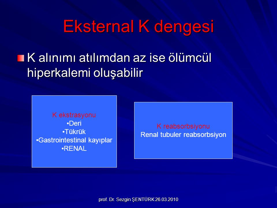 Eksternal K dengesi K alınımı atılımdan az ise ölümcül hiperkalemi oluşabilir. K ekstrasyonu. Deri.