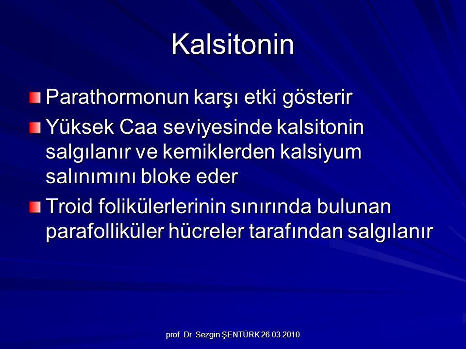 Kalsitonin Parathormonun karşı etki gösterir