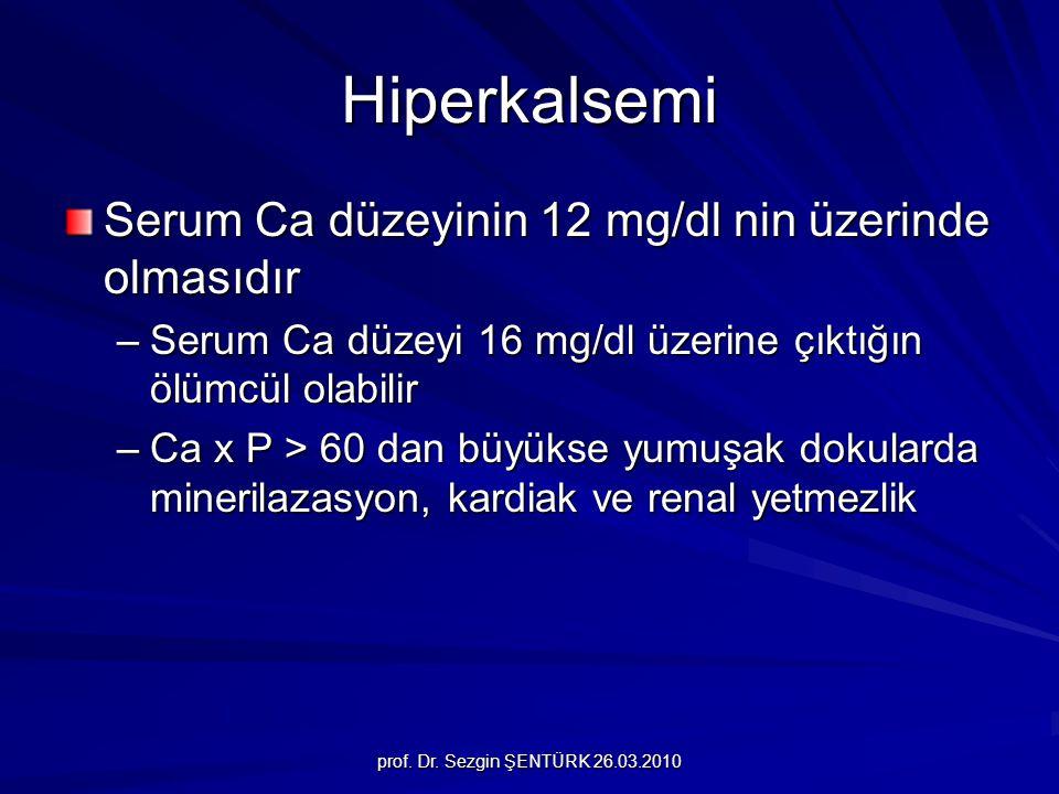 Hiperkalsemi Serum Ca düzeyinin 12 mg/dl nin üzerinde olmasıdır