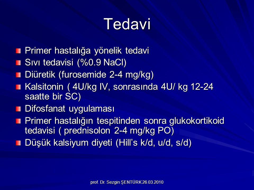 Tedavi Primer hastalığa yönelik tedavi Sıvı tedavisi (%0.9 NaCl)