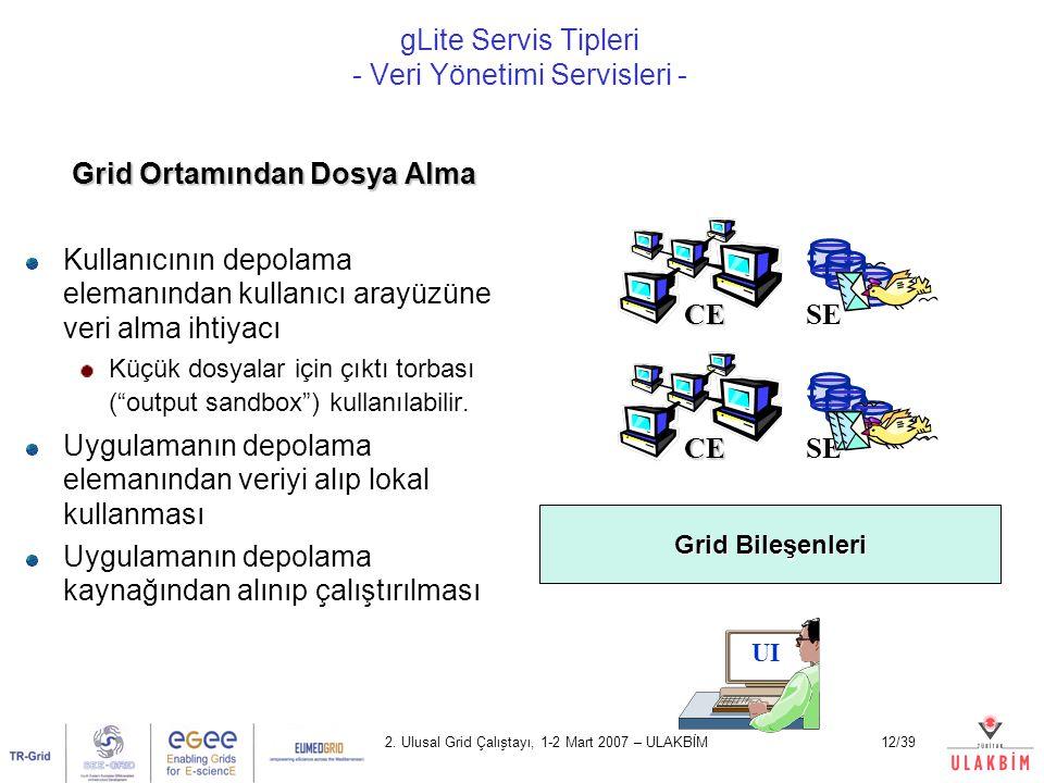 gLite Servis Tipleri - Veri Yönetimi Servisleri -