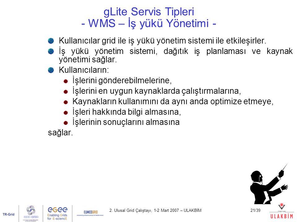 gLite Servis Tipleri - WMS – İş yükü Yönetimi -