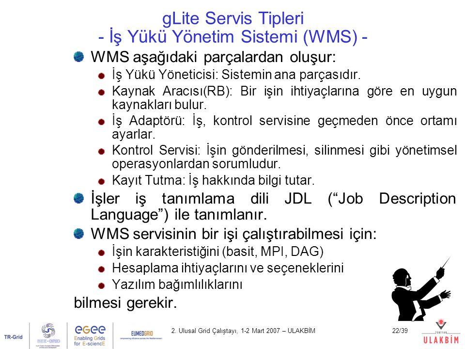 gLite Servis Tipleri - İş Yükü Yönetim Sistemi (WMS) -