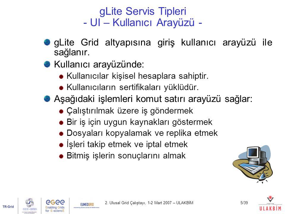gLite Servis Tipleri - UI – Kullanıcı Arayüzü -