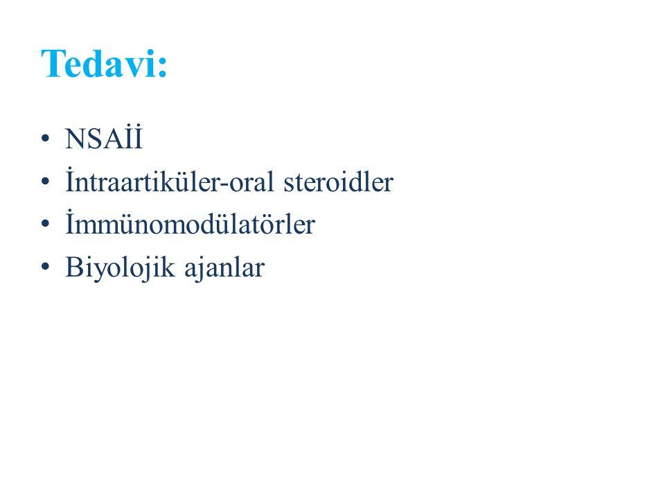 Tedavi: NSAİİ İntraartiküler-oral steroidler İmmünomodülatörler