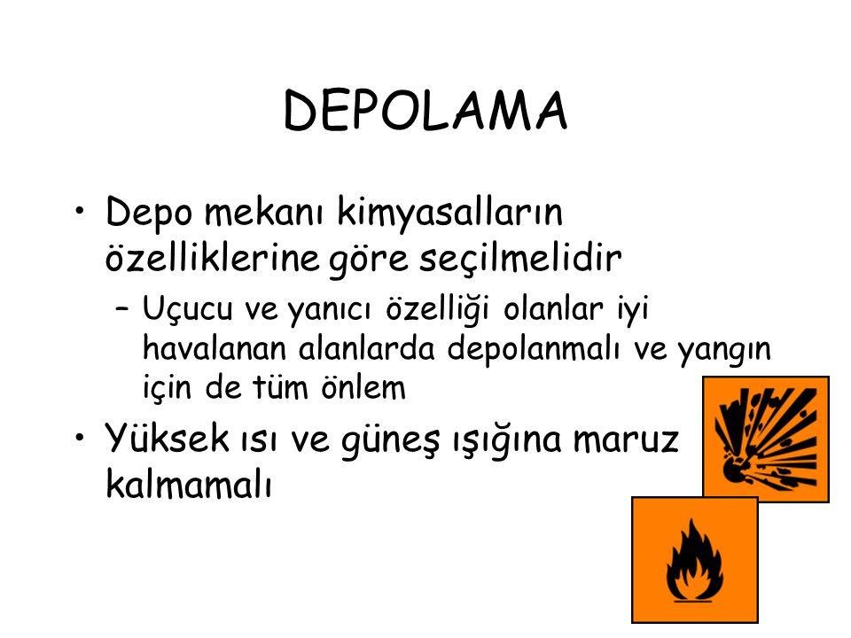 DEPOLAMA Depo mekanı kimyasalların özelliklerine göre seçilmelidir