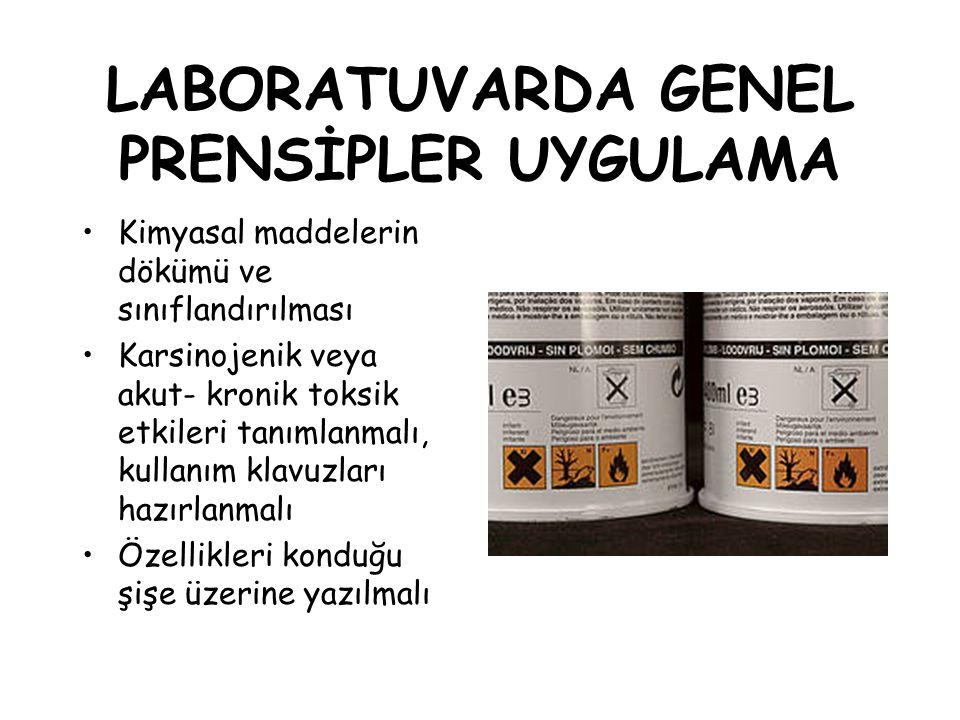LABORATUVARDA GENEL PRENSİPLER UYGULAMA
