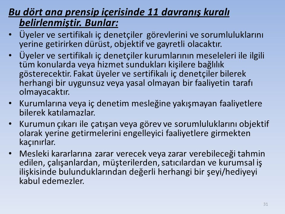 Bu dört ana prensip içerisinde 11 davranış kuralı belirlenmiştir