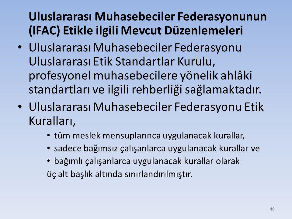 Uluslararası Muhasebeciler Federasyonu Etik Kuralları,