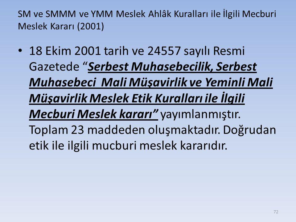 SM ve SMMM ve YMM Meslek Ahlâk Kuralları ile İlgili Mecburi Meslek Kararı (2001)