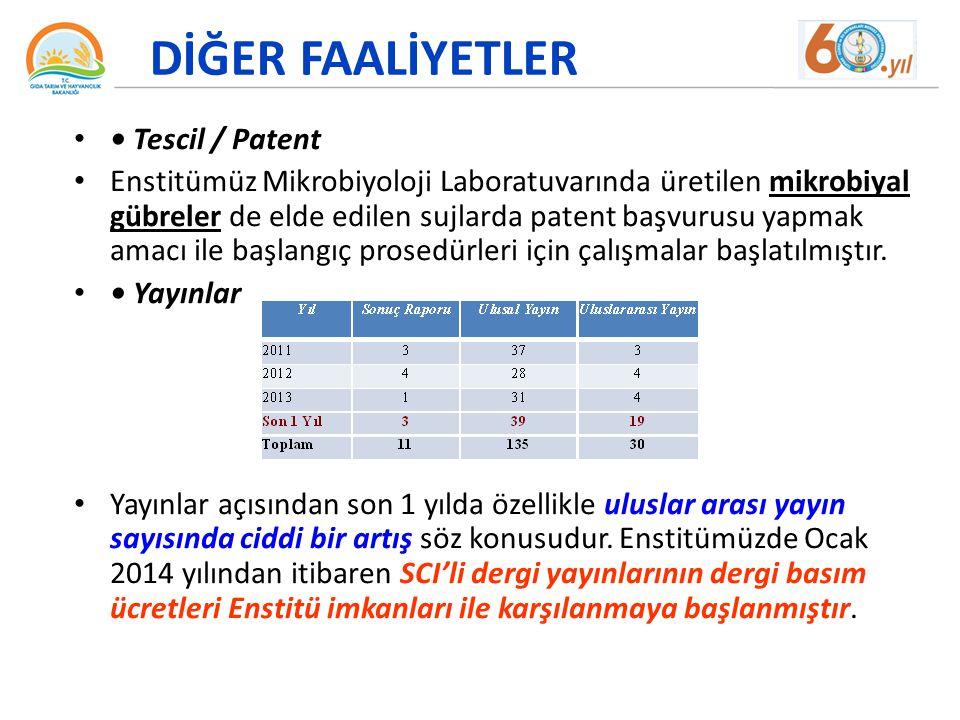 DİĞER FAALİYETLER • Tescil / Patent