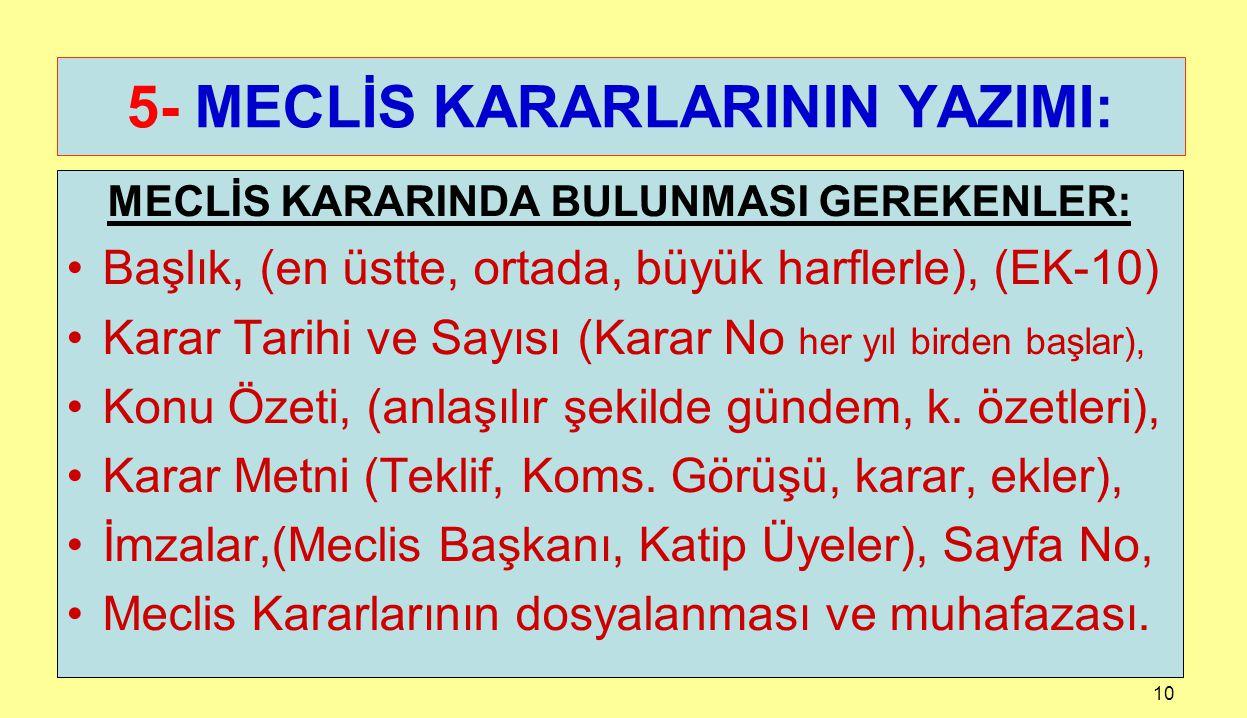 5- MECLİS KARARLARININ YAZIMI: