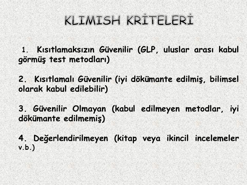 KLIMISH KRİTELERİ 1. Kısıtlamaksızın Güvenilir (GLP, uluslar arası kabul görmüş test metodları)