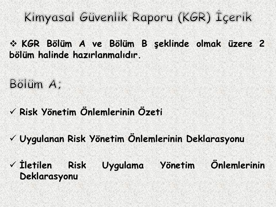 Kimyasal Güvenlik Raporu (KGR) İçerik