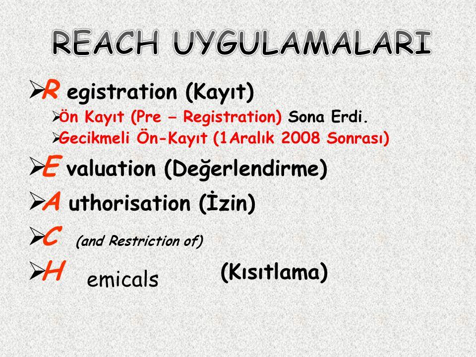 REACH UYGULAMALARI R egistration (Kayıt) E valuation (Değerlendirme)