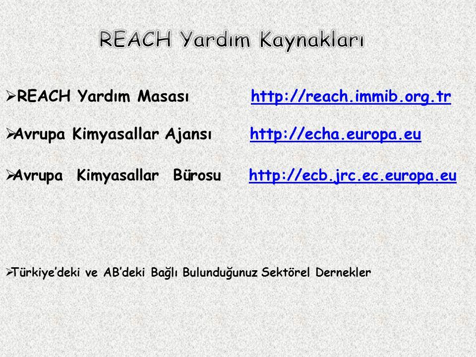 REACH Yardım Kaynakları