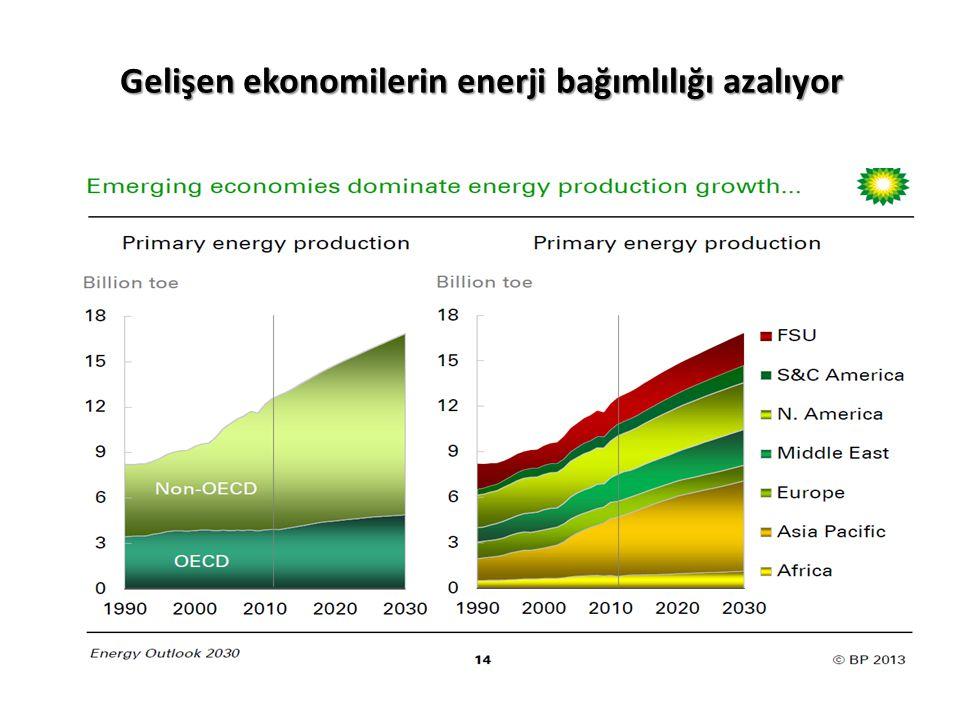 Gelişen ekonomilerin enerji bağımlılığı azalıyor