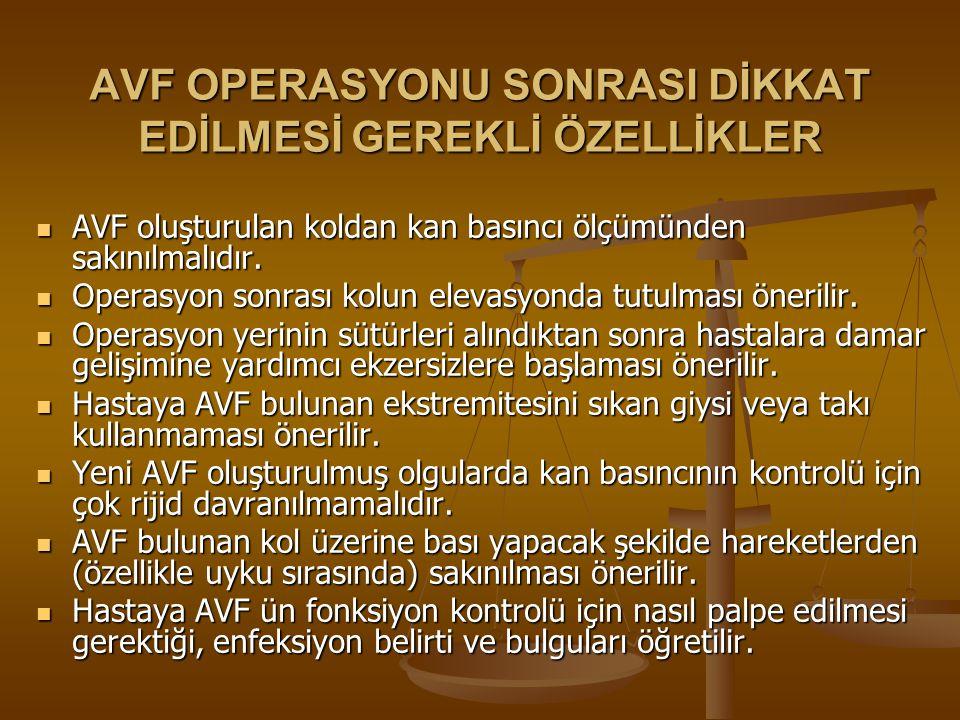 AVF OPERASYONU SONRASI DİKKAT EDİLMESİ GEREKLİ ÖZELLİKLER