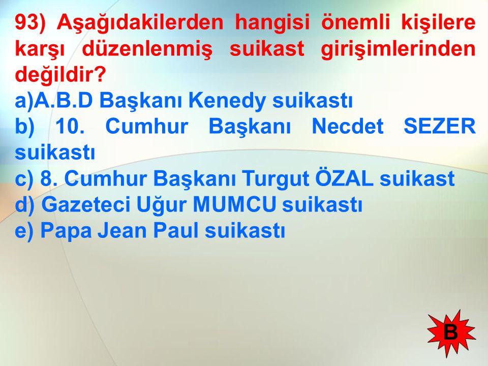 93) Aşağıdakilerden hangisi önemli kişilere karşı düzenlenmiş suikast girişimlerinden değildir