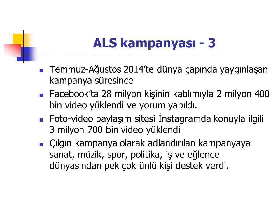 ALS kampanyası - 3 Temmuz-Ağustos 2014'te dünya çapında yaygınlaşan kampanya süresince.