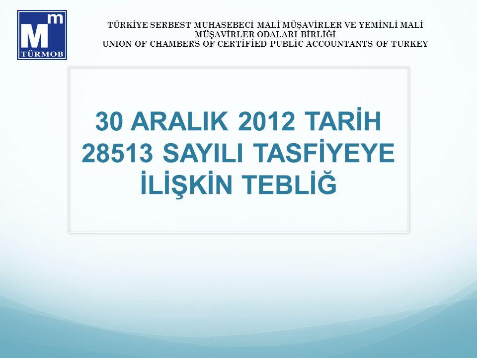 30 ARALIK 2012 TARİH 28513 SAYILI TASFİYEYE İLİŞKİN TEBLİĞ