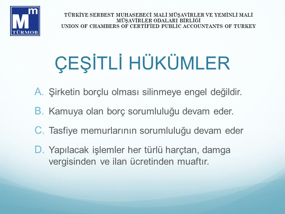 UNION OF CHAMBERS OF CERTİFİED PUBLİC ACCOUNTANTS OF TURKEY