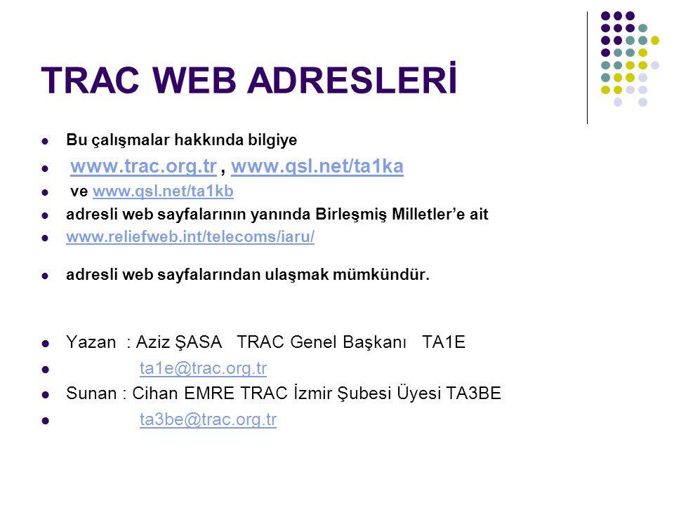TRAC WEB ADRESLERİ Yazan : Aziz ŞASA TRAC Genel Başkanı TA1E