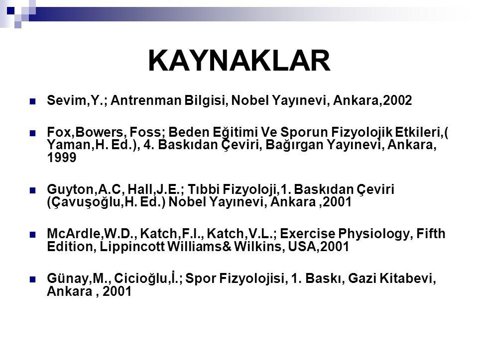 KAYNAKLAR Sevim,Y.; Antrenman Bilgisi, Nobel Yayınevi, Ankara,2002