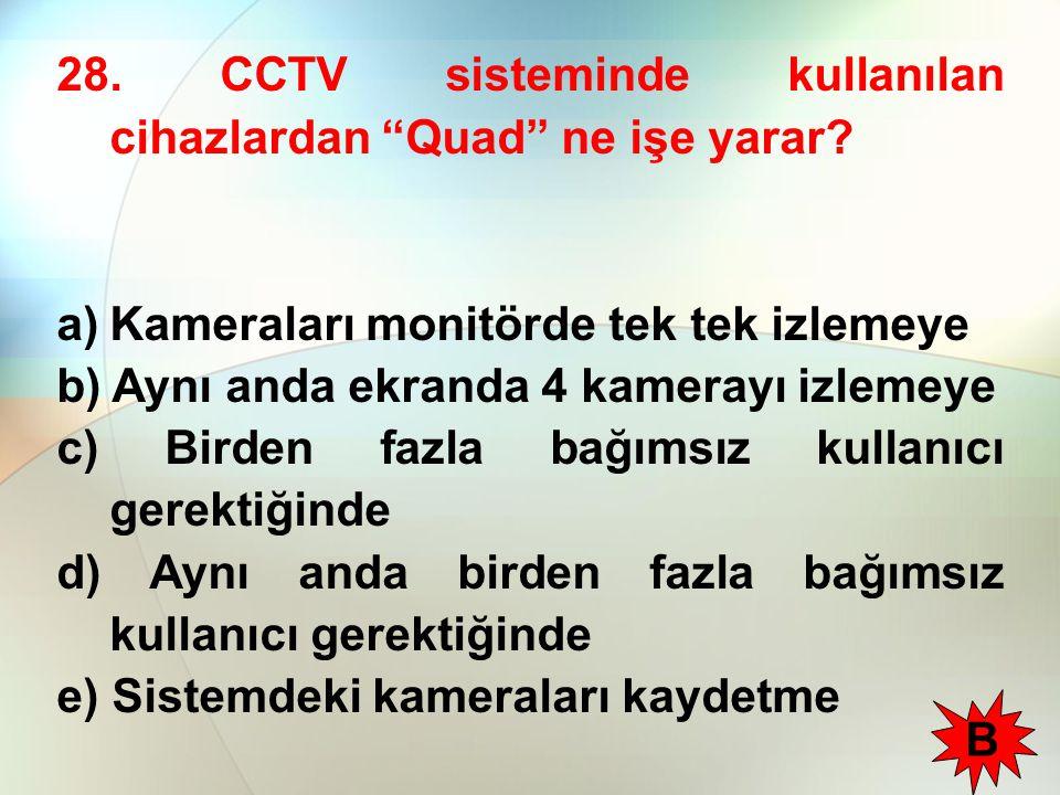 28. CCTV sisteminde kullanılan cihazlardan Quad ne işe yarar