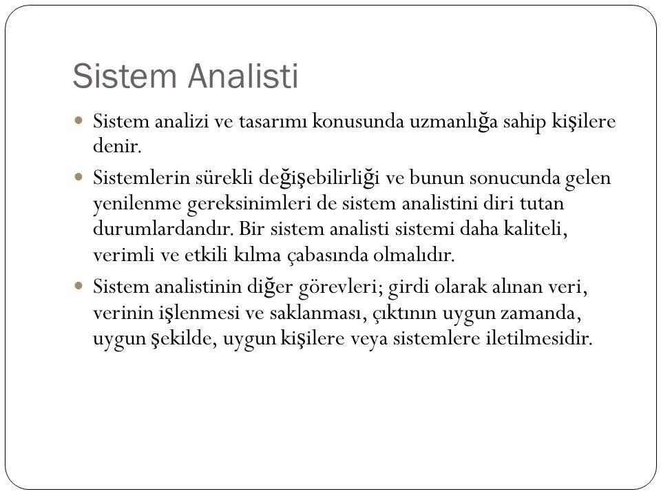 Sistem Analisti Sistem analizi ve tasarımı konusunda uzmanlığa sahip kişilere denir.