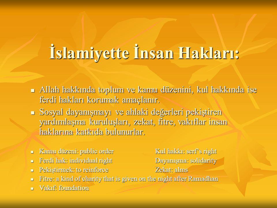 İslamiyette İnsan Hakları: