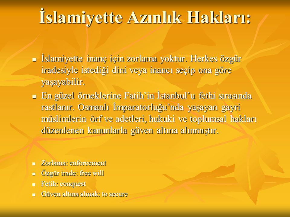 İslamiyette Azınlık Hakları: