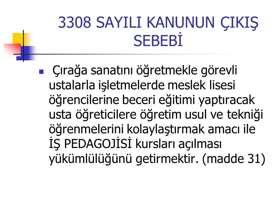 3308 SAYILI KANUNUN ÇIKIŞ SEBEBİ