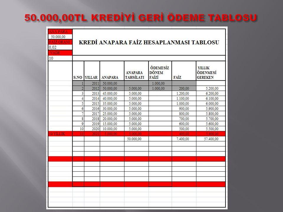 50.000,00TL KREDİYİ GERİ ÖDEME TABLOSU