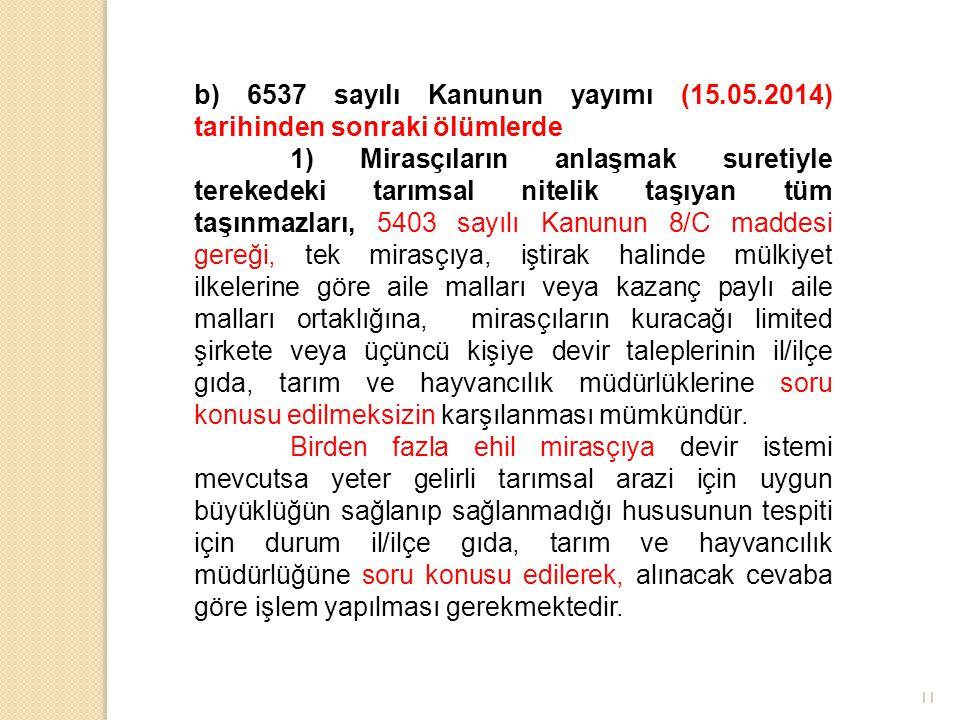 b) 6537 sayılı Kanunun yayımı (15. 05