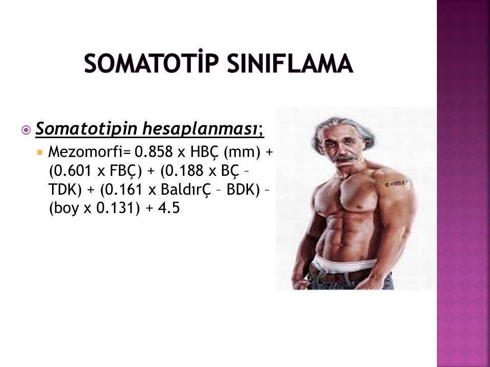 SOMATOTİP SINIFLAMA Somatotipin hesaplanması;