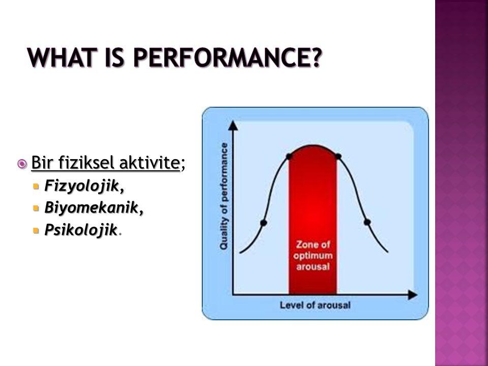 What is Performance Bir fiziksel aktivite; Fizyolojik, Biyomekanik,