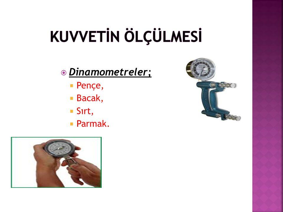 KUVVETİN ÖLÇÜLMESİ Dinamometreler; Pençe, Bacak, Sırt, Parmak.
