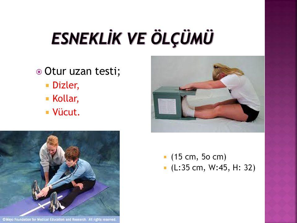 ESNEKLİK ve ölçümü Otur uzan testi; Dizler, Kollar, Vücut.