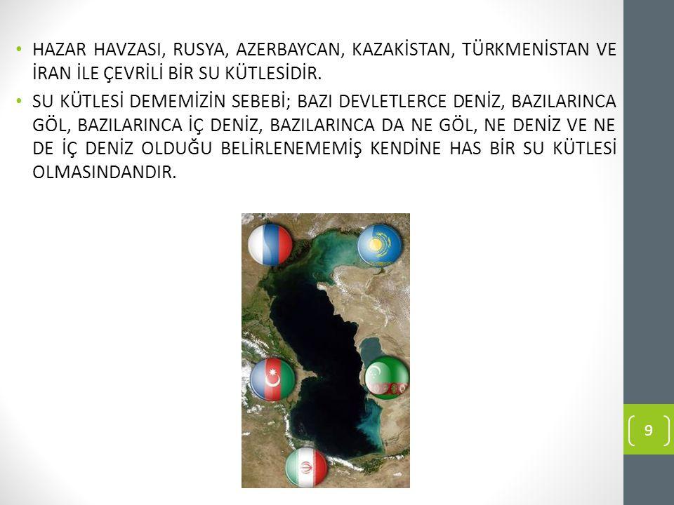 HAZAR HAVZASI, RUSYA, AZERBAYCAN, KAZAKİSTAN, TÜRKMENİSTAN VE İRAN İLE ÇEVRİLİ BİR SU KÜTLESİDİR.