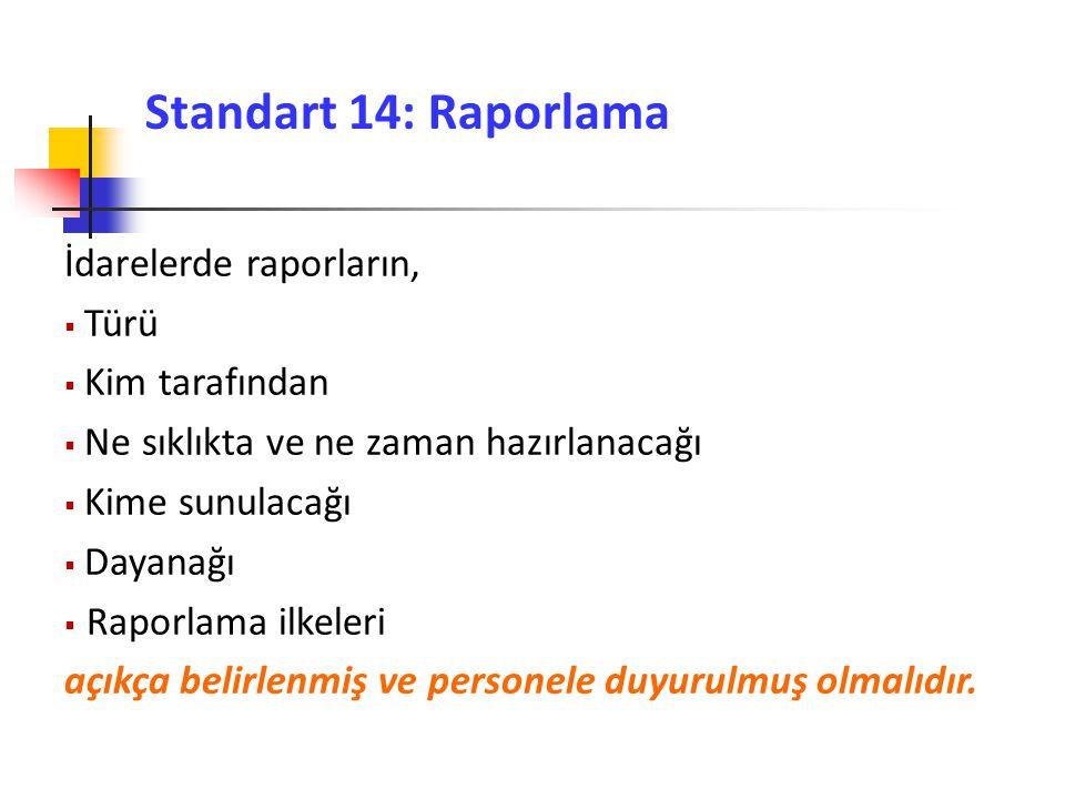 Standart 14: Raporlama İdarelerde raporların, Türü Kim tarafından