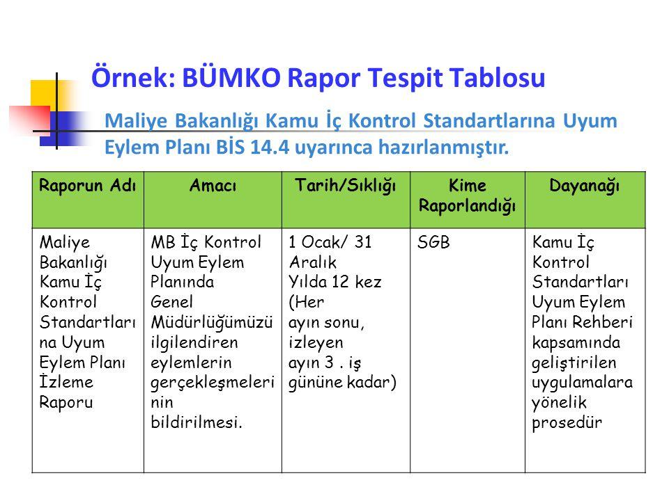 Örnek: BÜMKO Rapor Tespit Tablosu