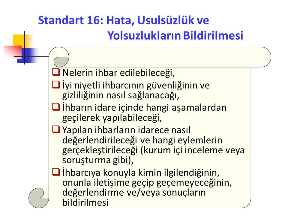 Standart 16: Hata, Usulsüzlük ve Yolsuzlukların Bildirilmesi