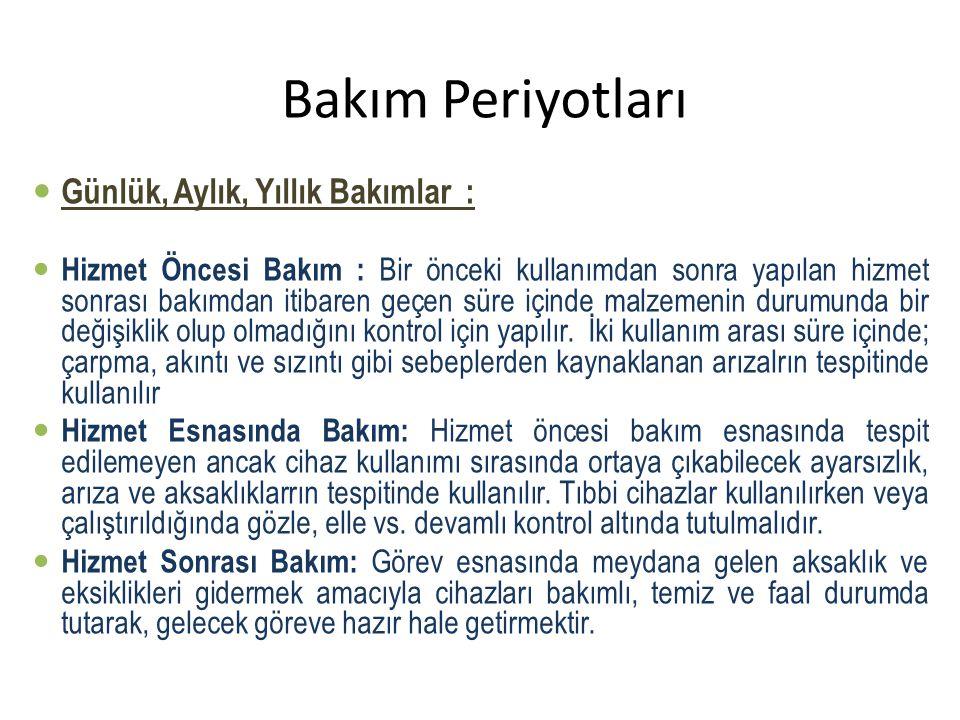 Bakım Periyotları Günlük, Aylık, Yıllık Bakımlar :
