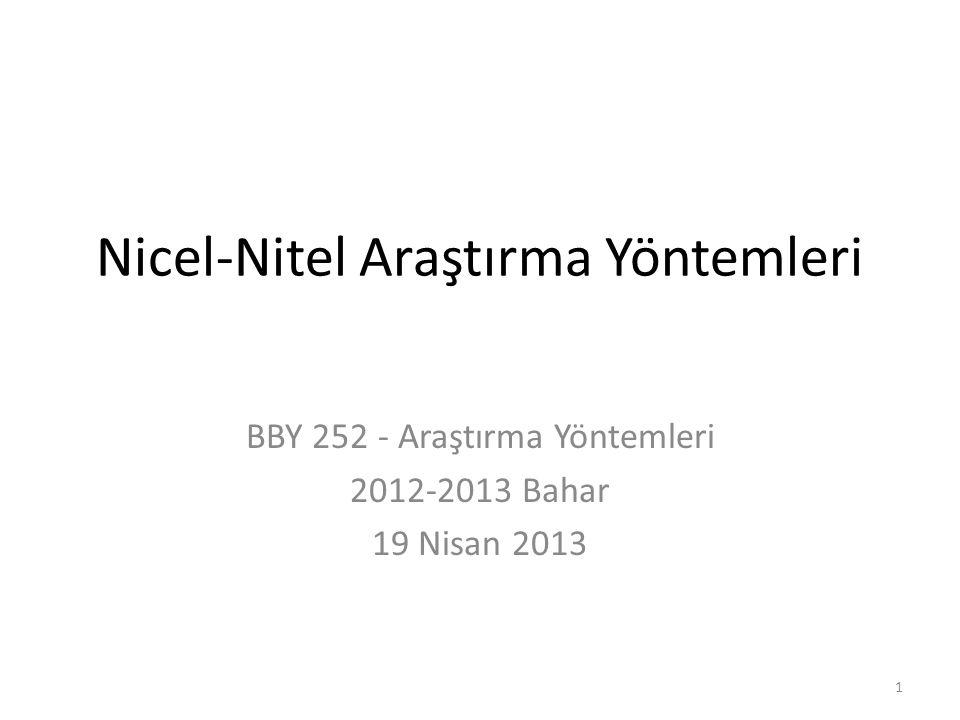 Nicel-Nitel Araştırma Yöntemleri