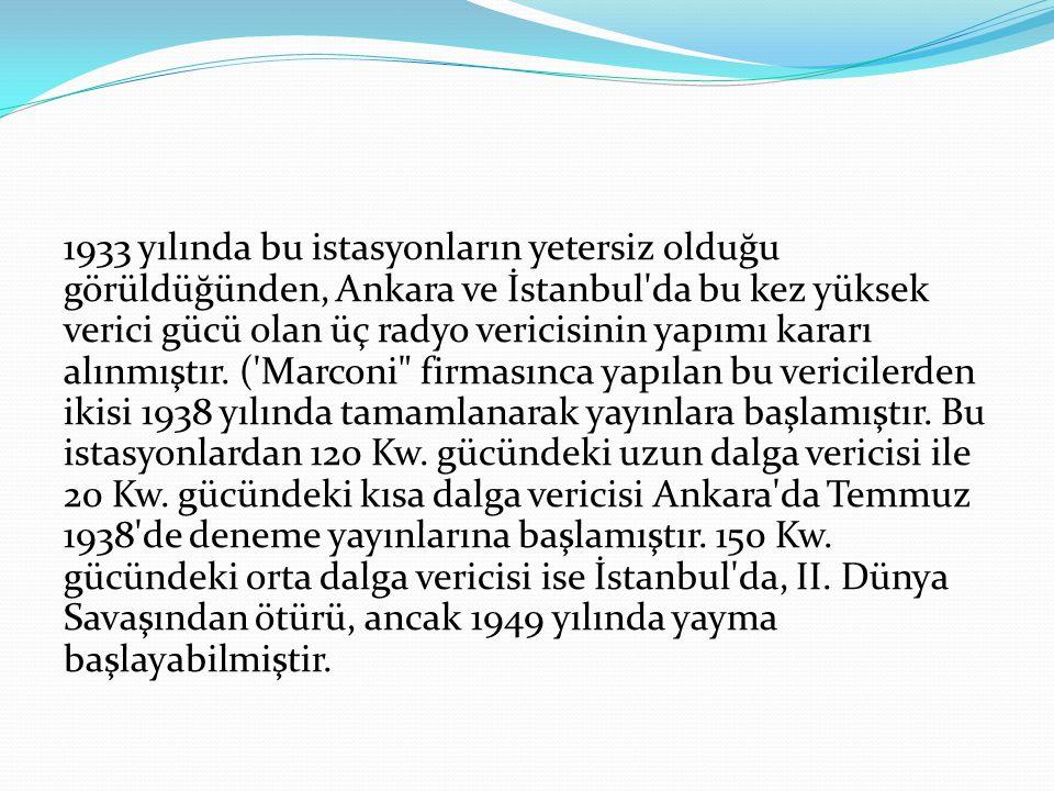 1933 yılında bu istasyonların yetersiz olduğu görüldüğünden, Ankara ve İstanbul da bu kez yüksek verici gücü olan üç radyo vericisinin yapımı kararı alınmıştır.
