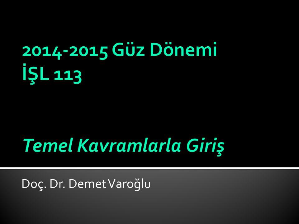 2014-2015 Güz Dönemi İŞL 113 Temel Kavramlarla Giriş